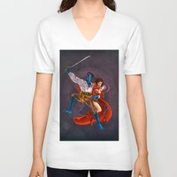 nightcrawler V-neck T-shirts featuring Nightcrawler & Scarlet Witch by Studio Acramill