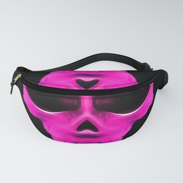 pink psychedelic skull portrait with black background Fanny Pack