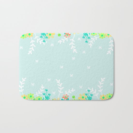 Turquoise floral pattern . Colorful floral background . Bath Mat