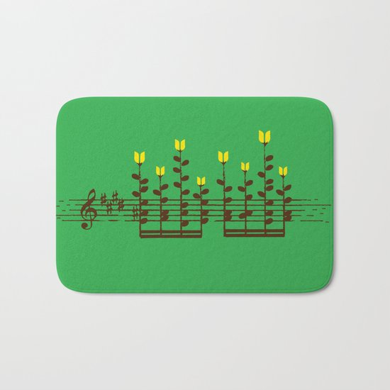 Music notes garden Bath Mat