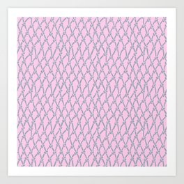 Fishing Net Grey on Blush Art Print