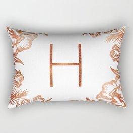 Letter H - Faux Rose Gold Glitter Flowers Rectangular Pillow