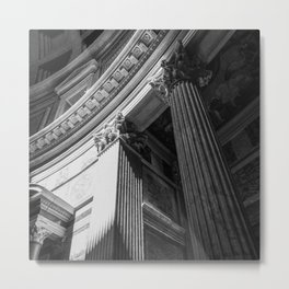 Black and White Pantheon Interior Architectural Photograph Metal Print