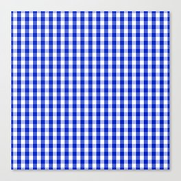 Cobalt Blue and White Gingham Check Plaid Squared Pattern Canvas Print