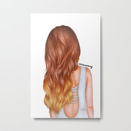 Ombre Auburn Wavy Hairstyle Girl Drawing Metal Print