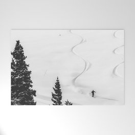 Backcountry Skier // Fresh Powder Snow Mountain Ski Landscape Black and White Photography Vibes Welcome Mat