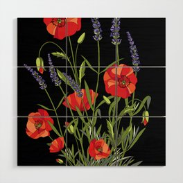 Poppies & Lavendar Wood Wall Art