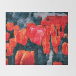 Tulip Field at Night Throw Blanket
