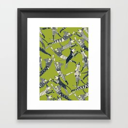 dog party indigo citron Framed Art Print