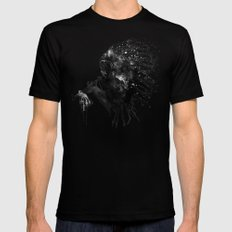 Indian with Headdress Black and White Silhouette Black Mens Fitted Tee X-LARGE
