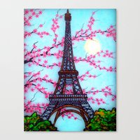 eiffel tower Canvas Prints featuring Eiffel Tower by ArtLovePassion