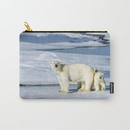 Phenomenal Polar Bear Mother With Two Adorable Little Cubs Ultra HD Carry-All Pouch