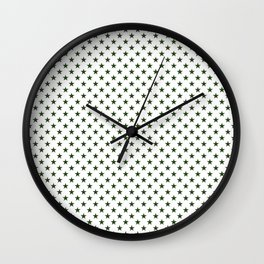 Dark Forest Green Five Pointed Stars on White Wall Clock