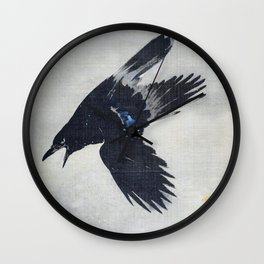 Crow Flying In The Snow - Digital Remastered Edition Wall Clock