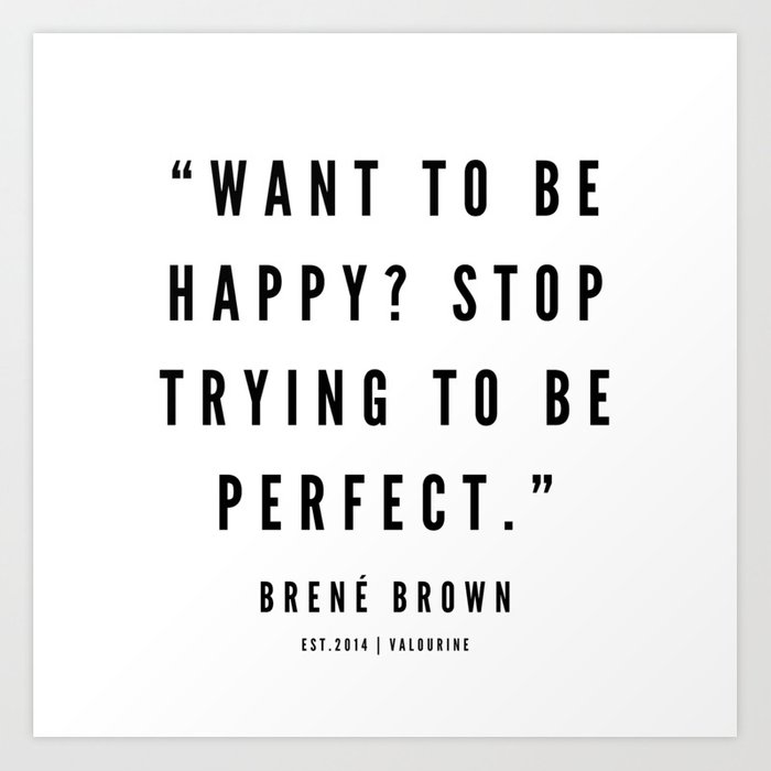brene brown quotes white design art print by