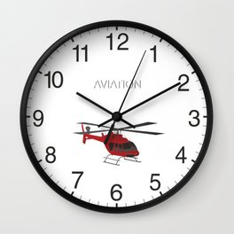 Red Vector Helicopter Wall Clock