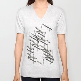 Bars with Drawings Unisex V-Neck