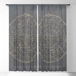 Golden Star Map Sheer Curtain