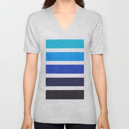 Colorful Blue Stripe Pattern Unisex V-Neck