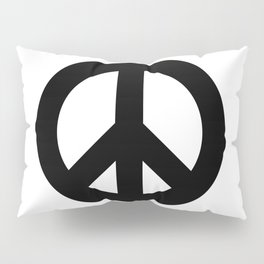 Peace Sign, Power of Peace, Power of Love, Social Justice Warrior Black, Super Sharp PNG Pillow Sham