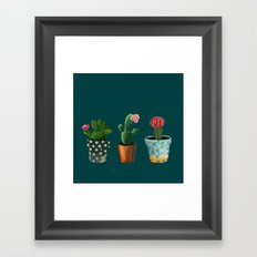 Three Cacti With Flowers On Green Background Framed Art Print