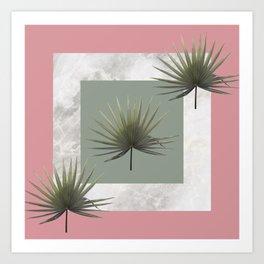THREE PALM LEAVES & MARBLE Art Print