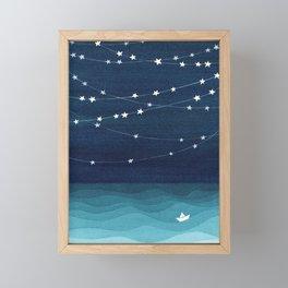 Garlands of stars, watercolor teal ocean Framed Mini Art Print