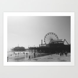 Santa Monica Pier Ferris Wheel Black and White Art Print