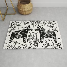 Swedish Dala Horses – Black Palette Rug