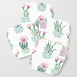 Simply Echeveria Cactus in Pastel Cactus Green and Pink Coaster