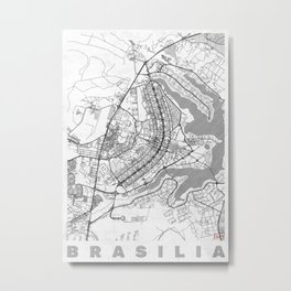 Brasilia Map Line Metal Print