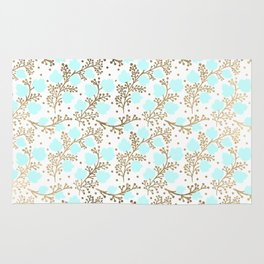 Modern faux gold teal white hand painted floral Rug