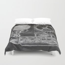 black and white vintage patent print chalkboard steampunk clock gear Duvet Cover