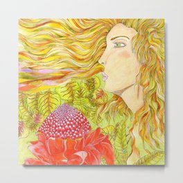 Madinina girl with red porcelain rose flower Metal Print