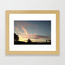 Sunset Under the Jetstreams Framed Art Print
