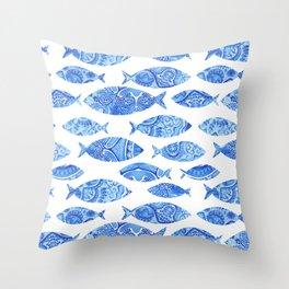 Folk watercolor fish pattern Throw Pillow