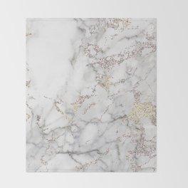 Champagne Rose Gold Blush Metallic Glitter Foil On Gray Marble Throw Blanket