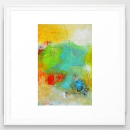 Green Aqua Yellow Abstract Art Painting Print  Framed Art Print