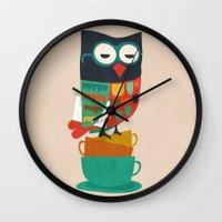budi Wall Clocks featuring Morning Owl by Picomodi