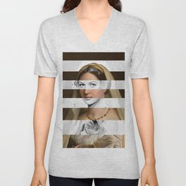 Raphael's Woman with a Veil & Hedy Lamarr Unisex V-Neck