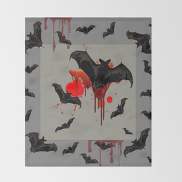 GREY ART OF FLYING BLACK BATS BLOODY  HALLOWEEN PARTY Throw Blanket