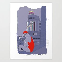 Diving in Madrid / Buceando en Madrid Art Print