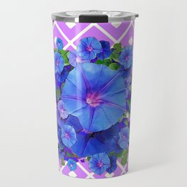 Lilac-White Pattern Blue Morning Glories Art Travel Mug
