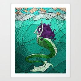 Primeval Mermaid (teal) Art Print