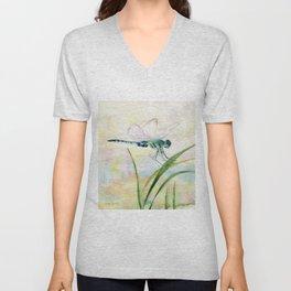 Dragonfly Watercolor  Unisex V-Neck