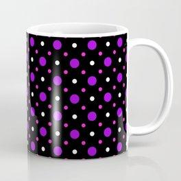 Black, Purple, Pink and White  Spots Pattern Coffee Mug