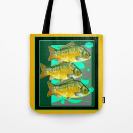 MODERN ART GREEN & OCHER DECORATIVE THREE FISH Tote Bag