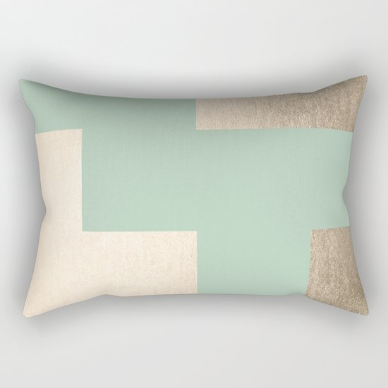 Simply Geometric White Gold Sands on Pastel Cactus Green Rectangular Pillow