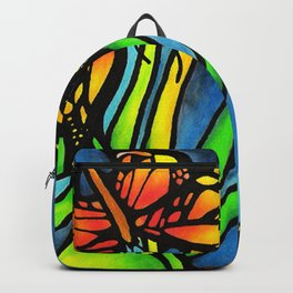 Beautiful Monarch Butterflies Fluttering Over Palm Fronds by annmariescreations Backpack