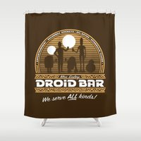 bar Shower Curtains featuring Droid Bar by Doodle Dojo